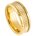 Tungsten Yellow Gold Plated IP with Center Basket Weave