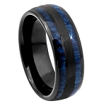 Black IP Tungsten with Exotic Blue Wood Inlay Ring