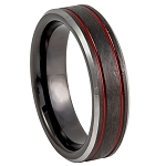 Tungsten Charcoal Gray with Ice Finish and Two Thin Grooved Red Lines