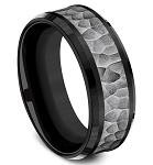 Designer 8mm Tantalum Hammer Finish Center- Black Titanium Edge Ring