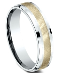 Men's 6mm 10K Yellow and White Gold Swirl Finish Center Bevel Edge