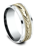 Men's 8mm 10K Yellow Gold Wheat Design Center - 10K White Gold Drop Bevel Edge