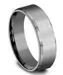 Designer 7mm Tantalum Satin Finish, Slight Beveled Edge Men's Ring