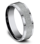 Designer 7mm Tantalum Swirl Finish Beveled Edge Ring