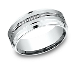 Benchmark 8mm 950 Platinum Center Cut Mens Ring