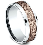 Designer Men's 8mm 14K Rose Script Pattern Center, 14KW High Polish Bevel Edge Ring