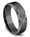Benchmark Black Tantalum Mokume Pattern Comfort Fit Band l 7mm