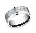 Fractured Rock Look Cobalt Chrome Men's Ring | 9 mm