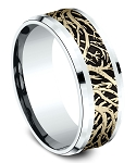 Men's 10K Yellow Gold Forrest Design - 10K White Gold Drop Bevel Edge