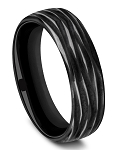 Benchmark 6.5mm Black Titanium Horizontal Bark Design Ring