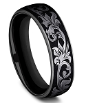 Benchmark 6.5mm Black Titanium Script Design Men's Ring