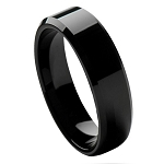 Tungsten Men's Black High Polished Beveled Edge Ring l 6mm