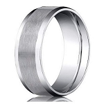 Designer Platinum Wedding Ring with Satin Finish and Polished Beveled Edges | 6mm - JB1187