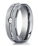 Men's Designer Titanium Ring with Polished Grooves & Screws | 8mm - JBT1013