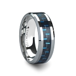 Men's Black & Blue Carbon Fiber Inlay Tungsten Carbide Ring