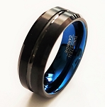 Brushed Finish Black Tungsten Carbide Ring with Blue Inner Band | 8mm