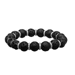 Men's Stainless Steel Zinc Ring and Black Lava Beads Bracelet