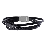 Men's Black Leather in White Tread and Braided Layered Bracelet with Steel Clasp