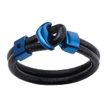 Men's Double Black Leather with Steel Blue IP Anchor Clasp Bracelet