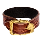 Men's Brown Distressed Leather Bracelet with Gold IP Matte Finished Skull Clasp