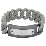Men's Gray Silicone Curb Bracelet with Stainless Steel and Gun Metal Finish ID Style Buckle