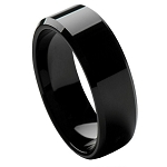 Tungsten Men's Black High Polished Beveled Edge Ring l 8mm