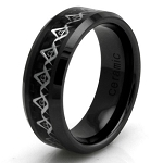 Black Ceramic Carbon Fiber Masonic Inlay Ring