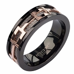 Rose Gold Plated Window Plated Black Ring