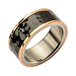 Steel Tri-Tone Hammered Finish Ring