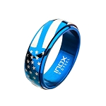 Steel and Blue Plated Spinner American Pride Ring