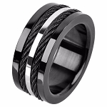 Stainless Steel Multiple Cables Inlayed in Plated Black Ring