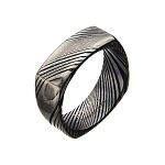 Damascus 8mm Matte Water Print Plated Square Ring