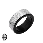 Hollis Bahringer Black IP Stainless Steel Bold Ornate Texture Ring