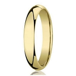 Designer 4 mm Domed Comfort-fit 10K Yellow Gold Wedding Band - JB1002