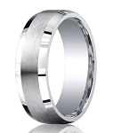 Designer Argentium Silver Polished Edges Wedding Ring with Satin Finished Center | 7mm - JBS1008