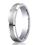 Designer Argentium Silver Beveled Edges Wedding Ring with Decorative Satin and Polished Finish | 5mm - JBS1009