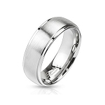 Traditional Stainless Steel Wedding Ring with Polished Edges and a Brushed Finish – 7 mm