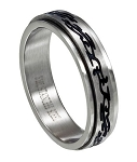Stainless Steel Tribal Sign Spinner Ring - JSS0055