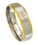 Two Tone Stainless Steel Ring for Men with Cross Design | 6mm