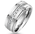 Men's Stainless Steel Eternity Band with CZs | 8 mm - JSS0187