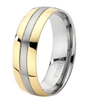 Men's Two Tone Titanium 8mm Comfort Fit Wedding Ring with Brushed Finish
