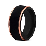 Black Tungsten Rose Gold Plated Beveled Edge Men's Ring