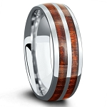 Men's Tungsten Two Row Koa Wood Ring l 8mm