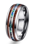 Hawaiian Koa Wood and Abalone Shell Tungsten Carbide Ring | 8mm