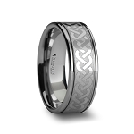 Men's Tungsten Carbide Ring with Celtic Knot Pattern 8mm