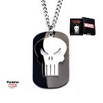 Stainless Steel Punisher Cutout on a Black PVD Plated Dog Tag Pendant with Chain