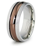 Stainless Steel Dome Metallic Center Wedding Band