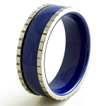 Stainless Steel Ceramic Royal Blue Ring With Block Edges