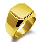 Stainless Steel Gold Plated Plain Square Signet Ring