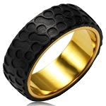 Gold Plated Stainless Steel Two Tone Circular Foam Forge Carbon Fiber Overlay Ring